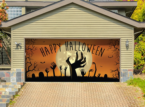 happy halloween graveyard fits a garage door