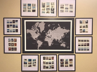 Nearly Complete: Travel Map Polaroid/Instax Collage