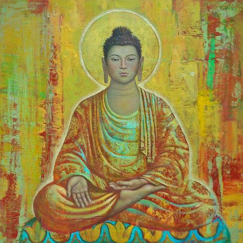 PRAKTIZIERENDER BUDDHA auf Aludibond