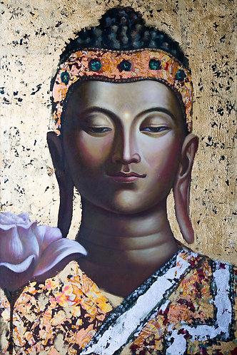 GOLDENER BUDDHA auf Aludibond