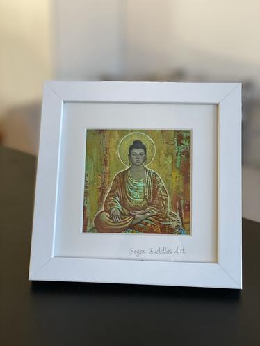 PRAKTIZIERENDER BUDDHA auf Artpapier im Rahmen