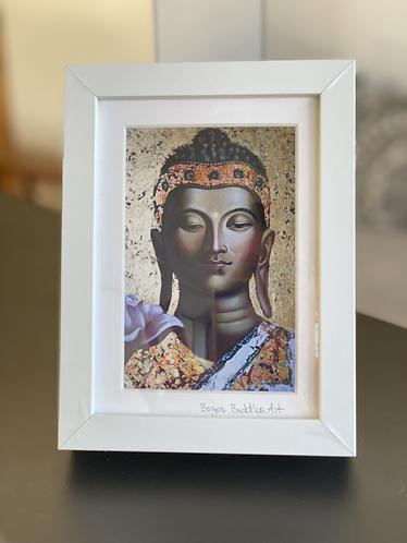 GOLDENER BUDDHA auf Artpapier mit Rahmen