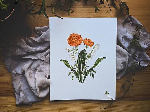 Floral Bouquet Watercolour Painting