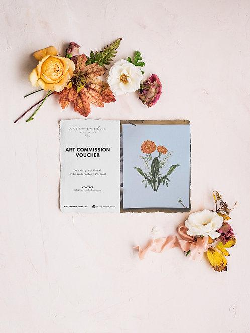 Art Commission Voucher Floral Watercolour - Digital Gift Certif