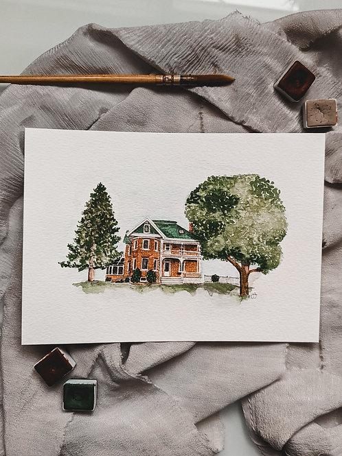 House + Cottage Watercolour Portrait