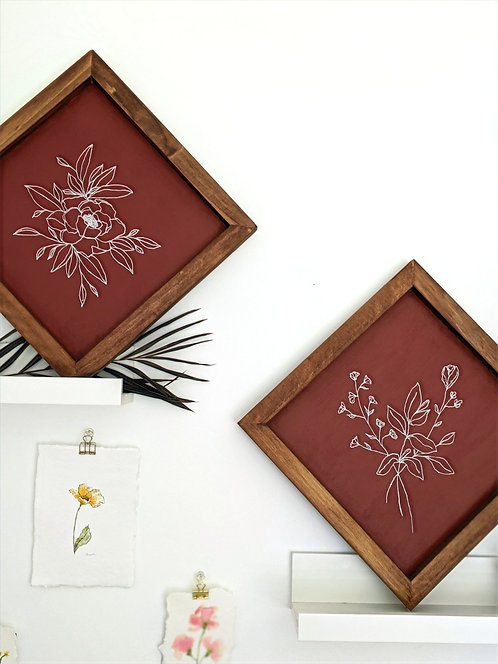 12x12 Botanical Wood Art Sign   MADE TO ORDER