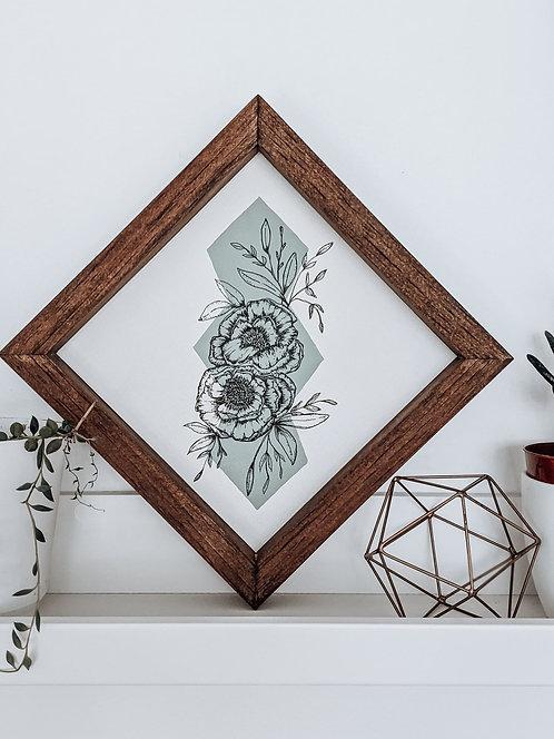 Geometric Peony I 8x8 Botanical Wood Art Sign   MADE TO ORDER