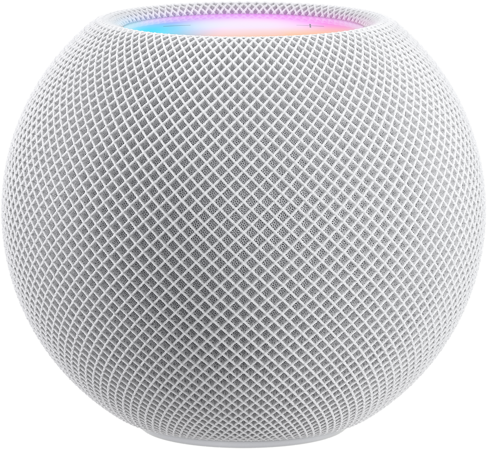 Apple HomePod mini in White with luminous controls lit