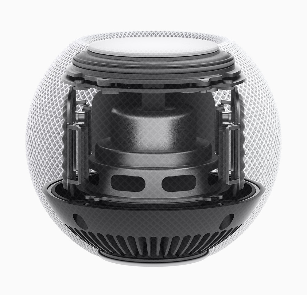 Apple HomePod mini with full-range driver, full-excursion passive radiators and waveguide system