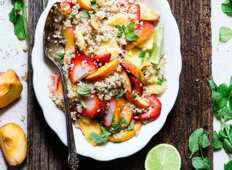 Coconut Quinoa Fruit Salad with a Lime & Honey Dressing