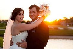 wedding photo sunset bride groom florida lake ashton