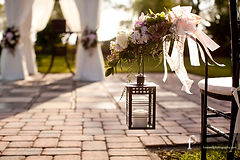 wedding flowers lanterns ceremony chairs lake ashton florida