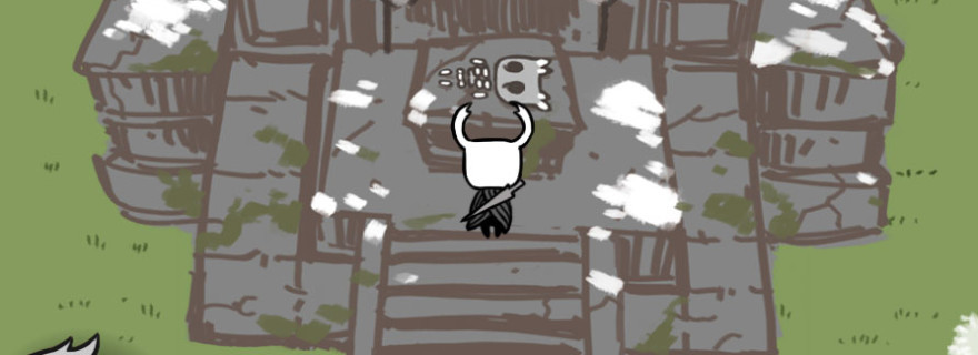 A screenshot of the Knight character from Hungry Knight standing in front of a bug skeleton at an altar.