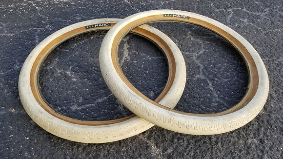 """Haro HPF Tires - White w/ Tan Walls 20x2.20"""" (PAIR)"""