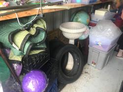 bird bath, plant holder, tire, globes