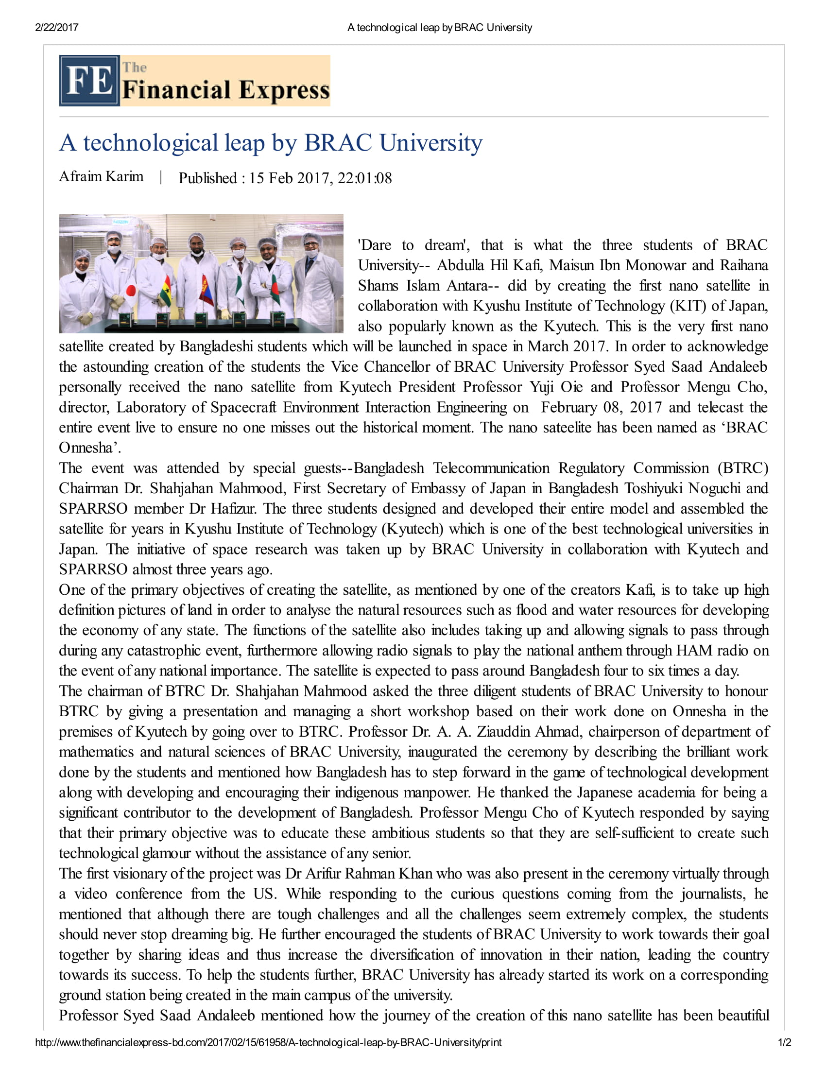 A technological leap by BRAC University-
