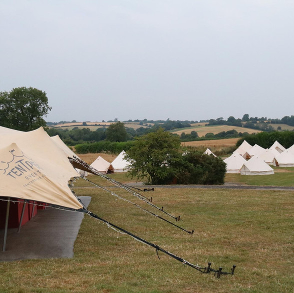 20x15m stretch tent and bell tents