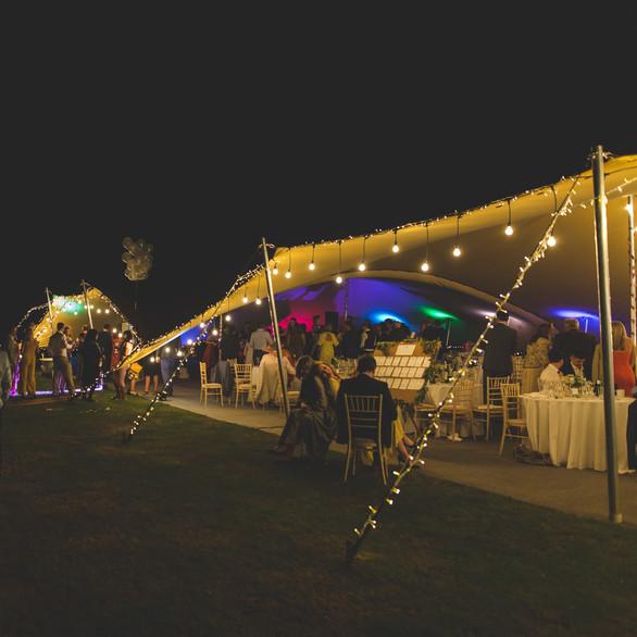 30x15m stretch tent uplights fairy festoons