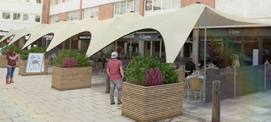 stretch tent covering cafes bars etc