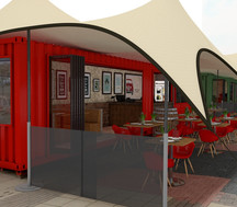 stretch tent covering shipping container