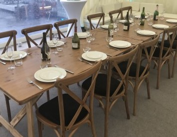 rustic trestle table 6 rustic chairs set