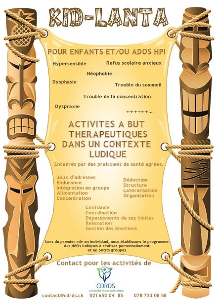 Flyer de kid-lanta, activités pour les enfants et les ado à haut potentiel intelectuel