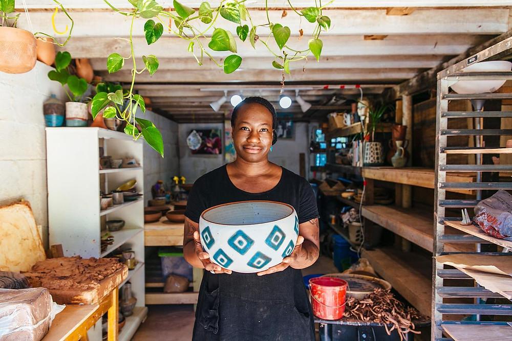 Osa Atoe in her studio, pic by Raegan Labat