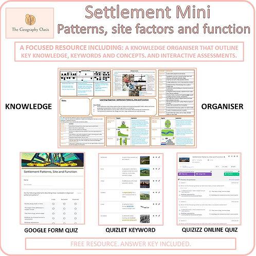 Settlement: Patterns, Factors Influencing Site, Functions. (MINI)