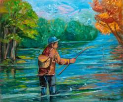 Pescando no río