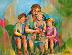 Sentada cos fillos