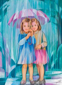 Nenas baixo o paraugas