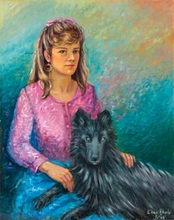 A miña filla María co seu can