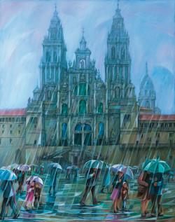 Chovendo no Obradoiro