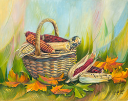 Outono, cesto de millo