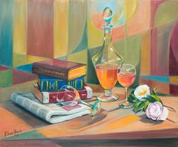 Libros, viño e camelias
