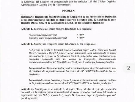 Decreto 883 Se reforma el Reglamento Sustitutivo para la Regulación de los Precios de los Derivados