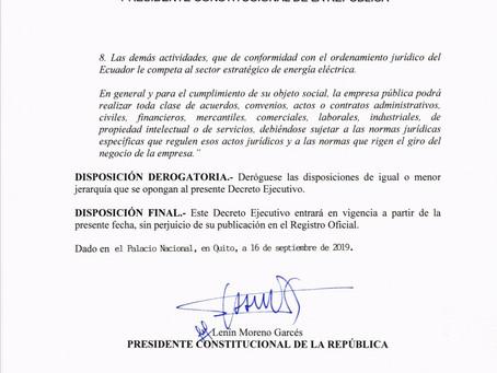 Decreto 876Modificación del objeto de CELEC EP mediante la reforma del Decreto Ejecutivo No. 220 de