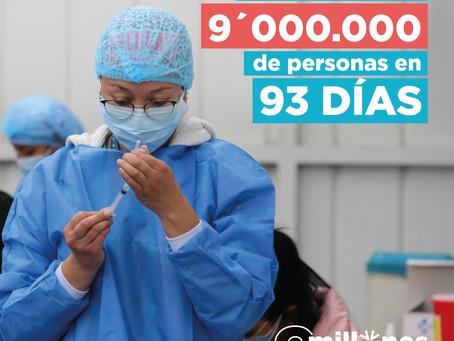 ¡Lo logramos! 9 millones de personas vacunadas en 93 días
