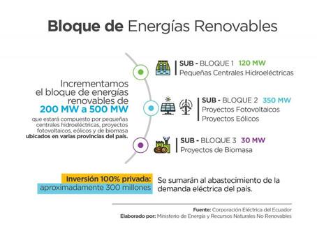 Ecuador actualiza el Bloque de Energías Renovables a 500 MW con inversión por USD 300 millones