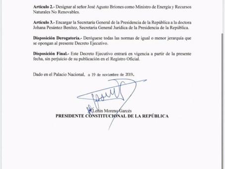 José Agusto Briones, flamante Ministro  de Energía y Recursos Naturales No Renovables