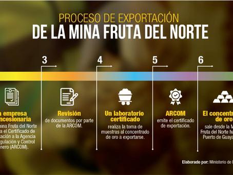 La mina Fruta del Norte exportó su primer cargamento de concentrado de oro