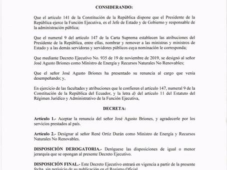Se designa al señor René Ortiz Durán como Ministro de Energía y Recursos Naturales No Renovables