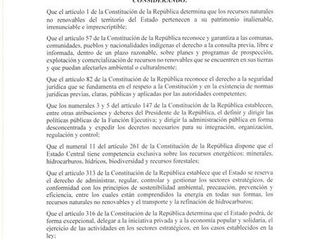 Decreto ejecutivo 95.- Se expide la Política de Hidrocarburos a través del Plan de Acción Inmediato
