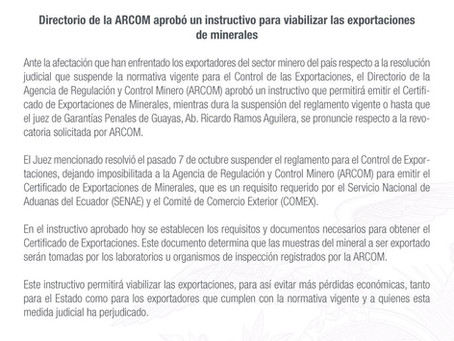 ARCOM aprobó instructivo provisional para viabilizar la exportación de minerales