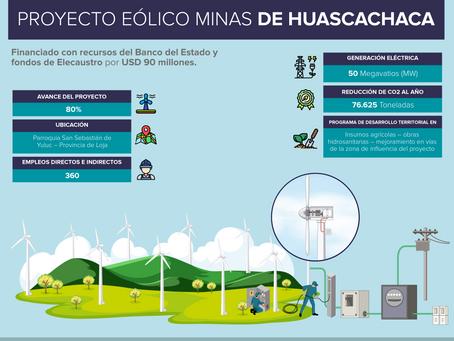80% de avance presenta Minas de Huascachaca, el proyecto eólico más grande del Ecuador.