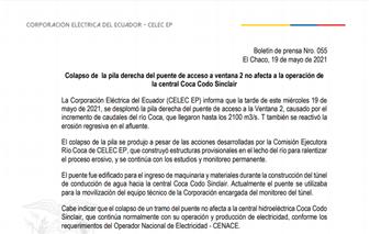 Colapso del puente de acceso a ventana 2 no afecta la operación de la central Coca Codo Sinclair