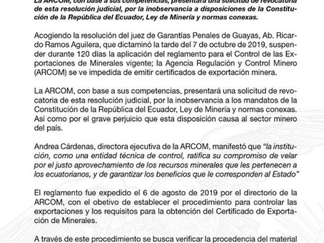 Juez suspende la aplicación de reglamento para la Exportación de Minerales