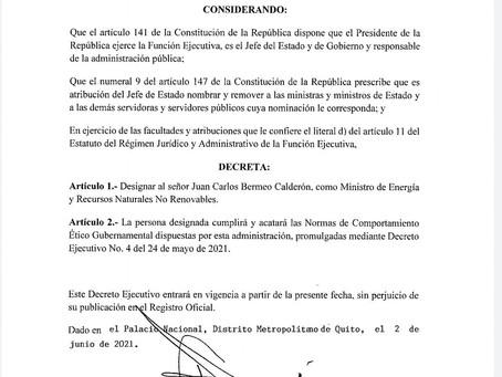 Juan Carlos Bermeo flamante Ministro de Energía y Recursos Naturales No Renovables