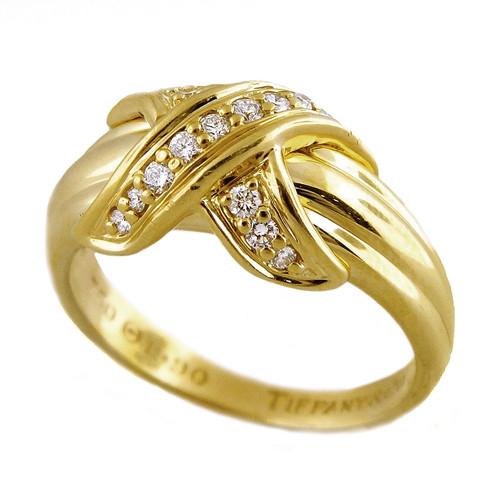 1c9d00499 Authentic Tiffany & Co. 750 18k Yellow Gold Diamond Criss Cross X Band