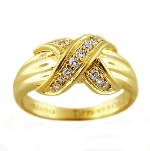 b6c0c9960 Beautiful AUTHENTIC Tiffany & Co. diamond criss cross X band in 18K yellow  gold features 15 natural high quality round diamonds in pave set. Approx.
